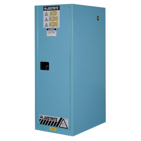 Sure-Grip  EX Deep Slimline Corrosives/Acid Safety Cabinet, Cap. 54 GAL, 3 shelves, 1 s/c door, Blue.