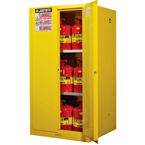 Sure-Grip  EX Flammable Safety Cabinet, Cap. 60 gallons, 2 shelves, 2 manual-close doors, Yellow.