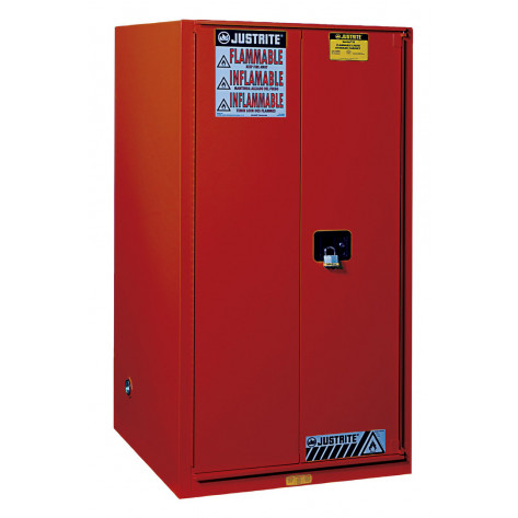 Sure-Grip  EX Flammable Safety Cabinet, Cap. 60 gallons, 2 shelves, 2 manual-close doors, Red.