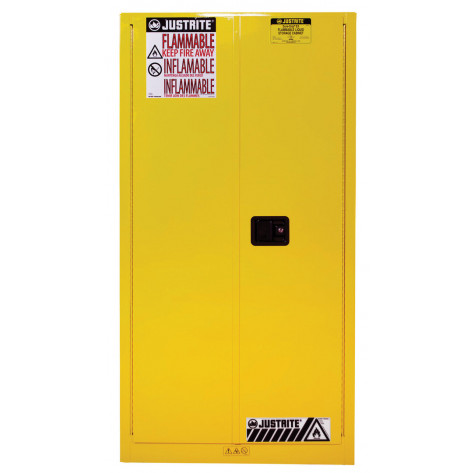 Sure-Grip  EX Flammable Safety Cabinet, Cap. 60 gallons, 2 shelves, 2 self-close doors, Yellow.