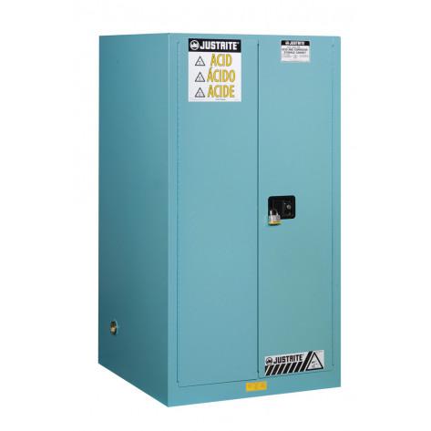 Sure-Grip  EX Corrosives/Acid Steel Safety Cabinet, Cap. 60 gallons, 2 shelves, 2 s/c doors, Blue.