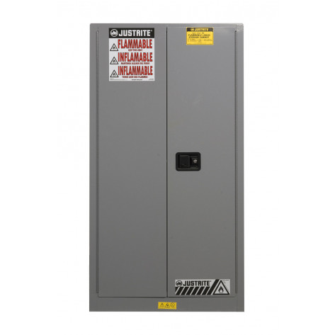 Sure-Grip  EX Flammable Safety Cabinet, Cap. 60 gallons, 2 shelves, 2 self-close doors, Gray.