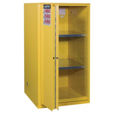 Sure-Grip  EX Flammable Safety Cabinet, Cap. 60 gallons, 2 shelves, 1 bi-fold s/c door, Yellow.