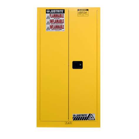 Sure-Grip  EX Vertical Drum Safety Cabinet and Drum Support, Cap. 55 GAL, 1 shelf, 2 s/c doors, Yel.