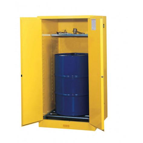 Sure-Grip  EX Vertical Drum Safety Cabinet and Drum Rollers, Cap. 55 GAL, 1 shelf, 2 s/c doors, Yel.