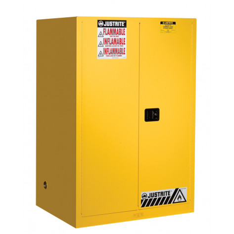 Sure-Grip  EX Flammable Safety Cabinet, Cap. 90 gallons, 2 shelves, 2 manual-close doors, Yellow.