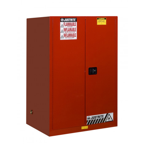 Sure-Grip  EX Flammable Safety Cabinet, Cap. 90 gallons, 2 shelves, 2 manual-close doors, Red.