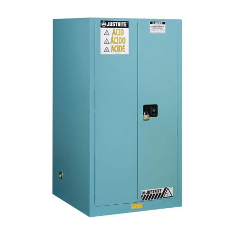 Sure-Grip  EX Corrosives/Acid Steel Safety Cabinet, Cap. 90 gallons, 2 shelves, 2 s/c doors, Blue.