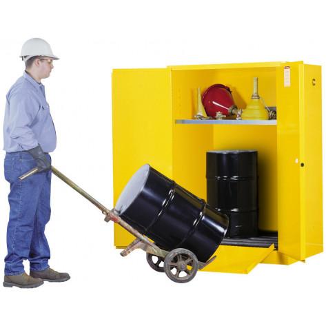 Sure-Grip  EX Vertical Drum Safety Cabinet and Drum Rollers, Cap. 60 GAL, 1 shelf, 2 m/c doors, Yel.