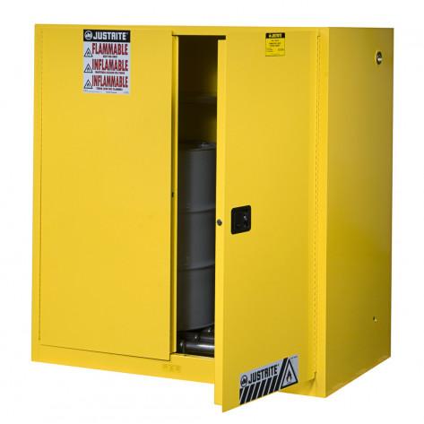 Sure-Grip  EX Vertical Drum Safety Cabinet and Drum Rollers, Cap. 60 GAL, 1 shelf, 2 s/c doors, Yel.