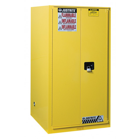 Sure-Grip  EX Flammable Safety Cabinet, Cap. 90 gallons, 2 shelves, 1 bi-fold s/c door, Yellow.