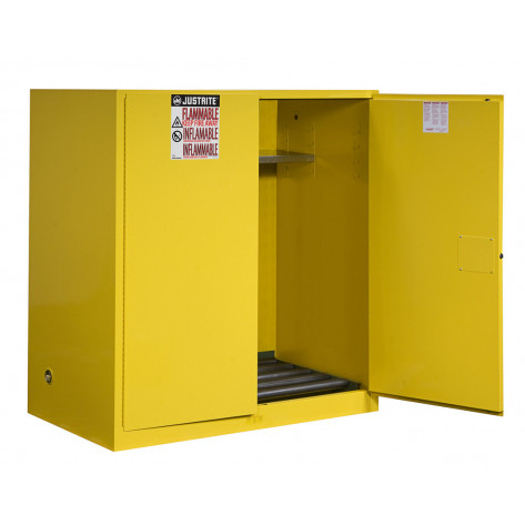 Sure-Grip  EX Vertical Drum Safety Cabinet and Drum Rollers, Cap. 110 GAL, 1 shelf, 2 m/c doors, Yel.