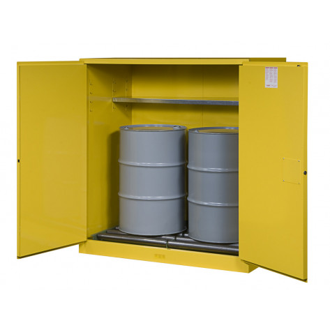Sure-Grip  EX Vertical Drum Safety Cabinet and Drum Rollers, Cap. 110 GAL, 1 shelf, 2 s/c doors, Yel.