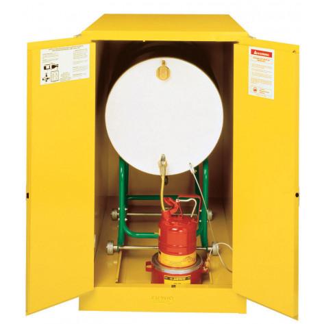 Sure-Grip  EX Horizontal Drum Safety Cabinet with Cradle Track, Cap. 55-GAL drum, 2 m/c doors, Yel.