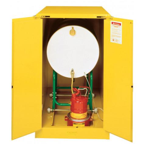 Sure-Grip  EX Horizontal Drum Safety Cabinet with Cradle Track, Cap. 55-GAL drum, 2 s/c doors, Yel.