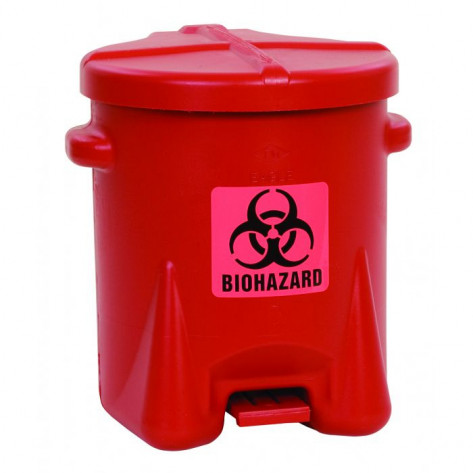 Biohazardous Poly Waste Can, 6 Gallon, Foot-Operated, Red