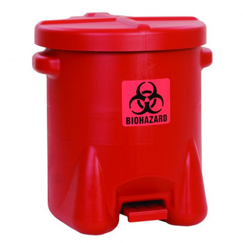 Biohazardous Poly Waste Can, 14 Gallon, Foot-Operated, Red
