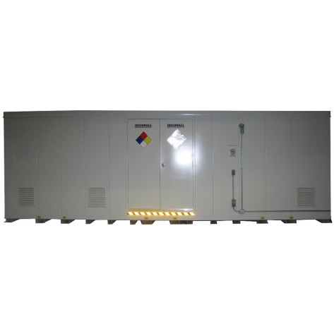 """48 Drum Safety Storage Building FM Approved 8'4""""H x 26'W x 8'D; Approx. Ship. Wt. 9,963 Lbs. Approval - OSHA, FM, NFPA"""