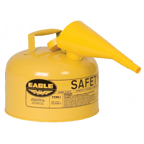 Type I Steel Safety Can For Diesel, 2.5 Gallon, With Funnel, Flame Arrester, Yellow