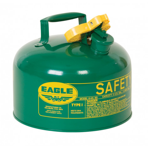 Type I Steel Safety Can For Combustibles, 2.5 Gallon, Flame Arrester, Green