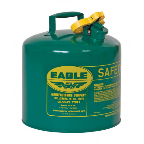 Type I Steel Safety Can For Combustibles, 5 Gallon, Flame Arrester, Green