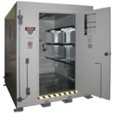 "12 Drum Safety Storage Locker FM Approved 2 HR Fire Rated 8'4""H x 7'W x 9'D; Approx. Ship. Wt. 3,700 Lbs."