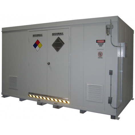 "24 Drum Safety Storage Building FM Approved 2 HR Fire Rated 8'4""H x 14'W x 8'D; Approx. Ship. Wt. 6,994 Lbs. Approval - OSHA, FM, NFPA"
