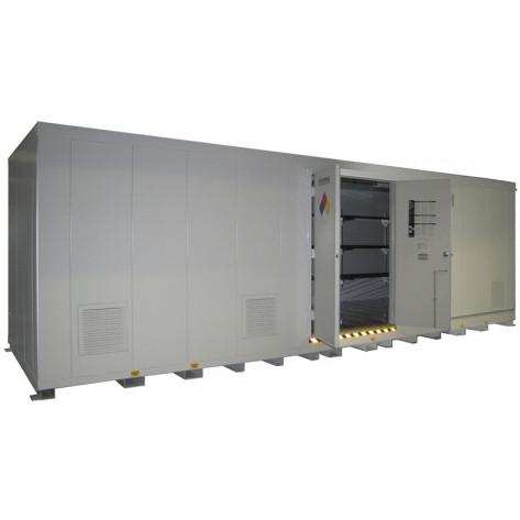 """48 Drum Safety Storage Building FM Approved 4 HR Fire Rated 8'4""""H x 26'W x 8'D; Approx. Ship. Wt. 9,963 Lbs. Approval - OSHA, FM, NFPA"""