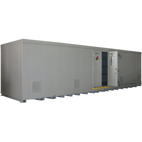 """64 Drum Safety Storage Building FM Approved 4 HR Fire Rated 8'4""""H x 34'W x 8'D; Approx. Ship. Wt. 12,851 Lbs. Approval - OSHA, FM, NFPA"""