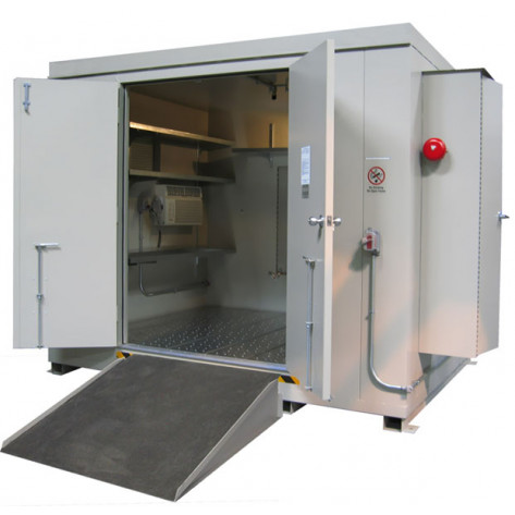 "16 Drum Safety Storage Building FM Approved  8'4"" H x 10' W x 8' D; Approx. Ship. Wt. 5,515 Lbs. Approval - OSHA, FM, NFPA"