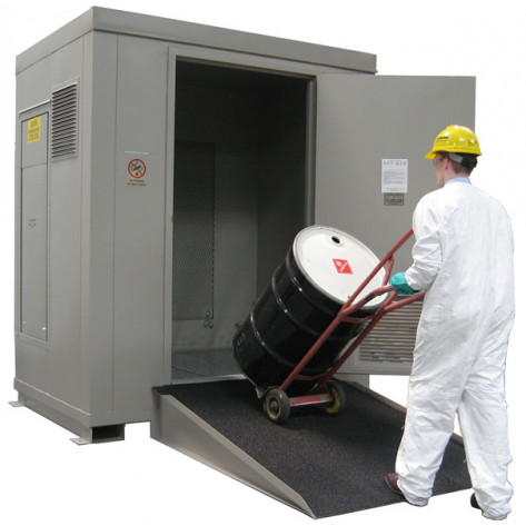 "6 Drum Safety Storage Locker FM Approved 2 HR Fire Rated 6/55 Gal. Drum;  8'4""H x 7'W x 5'D; Approx. Ship. Wt. 2,061 Lbs."