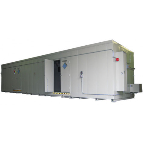 """80 Drum Safety Storage Building FM Approved 8'4""""H x 42'W x 8'D ; Approx. Ship. Wt. 15,369 Lbs. Approval - OSHA, FM, NFPA"""