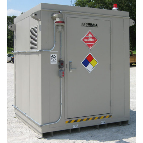 """9 Drum Safety Storage Locker FM Approved 2 HR Fire Rated 8'4""""H x 7'W x 7'D; Approx. Ship. Wt. 3,167 Lbs"""