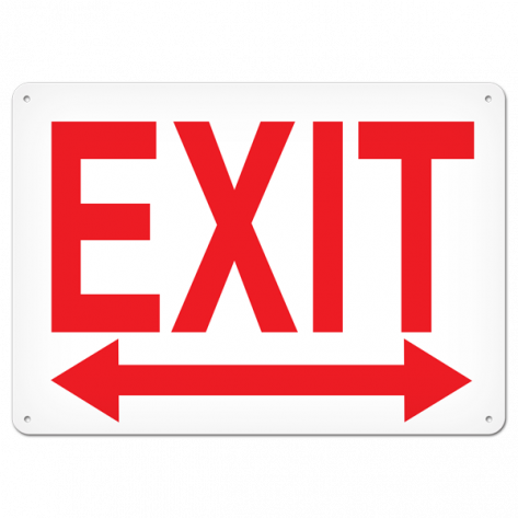 """EXIT Left/Right (10"""" x 14"""") Self adhesive"""
