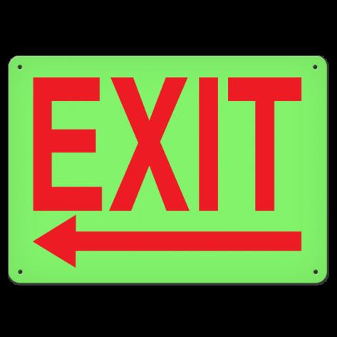 """Exit Left (10"""" x 14"""") Rigid Plastic"""