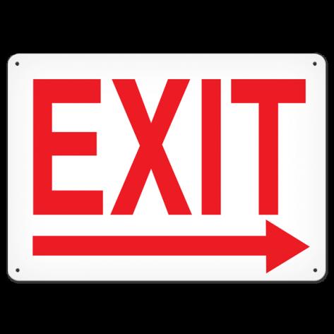 """Exit Right (10"""" x 14"""") Rigid Plastic"""