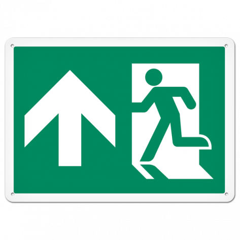 "Running Man Exit (10"" x 14"") Self adhesive"