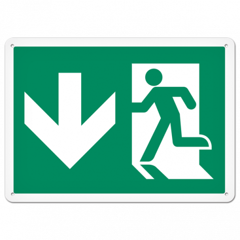 """Running Man Exit (10"""" x 14"""") Rigid Plastic"""