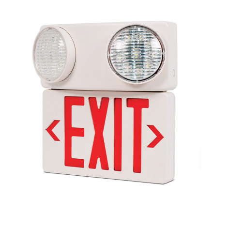LED EMERGENCY EXIT SIGN WITH TWIN SPOT LED LIGHTS THERMO PLASTIC