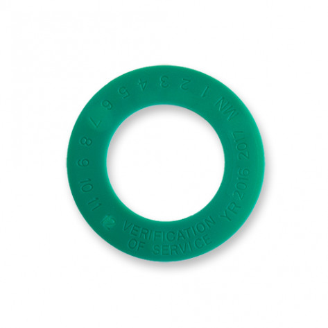 """1 3/8"""" Verification of Service Collars Green Package of 100"""