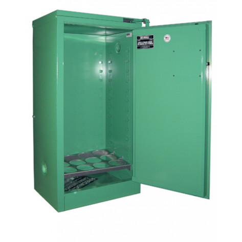"9-12 Cylinder D, E Self-Latch Self-Close Safe-T-Door, Fire Lined; Dimension 46""H x 23""W x 18""D; Holds 9-12 D, E Cylinders; Approx. Ship. Wt. 209 Lbs."