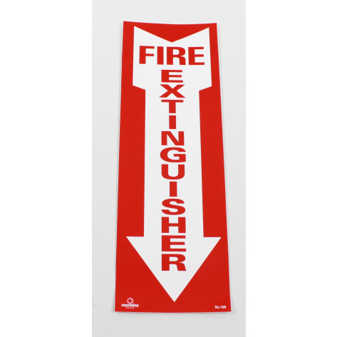 "Fire Extinguisher Arrow Sign -Self Adhesive 4"" x 12"""