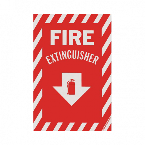 """Fire Extinguisher Arrow Sign -Self Adhesive 8"""" x 12"""""""