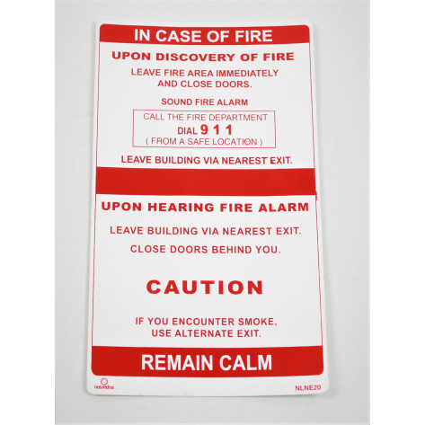 IN CASE OF FIRE SINGLE STAGE ALARM SIGN * NO ELEVATOR *