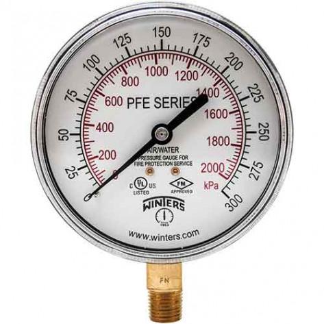 """3 1/2"""" Dial  Air / Water Sprinkler System Pressure Gauge Winters PFE3935R1"""
