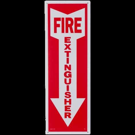 "Fire Extinguisher Arrow Sign -Rigid Plastic 4"" x 12"""