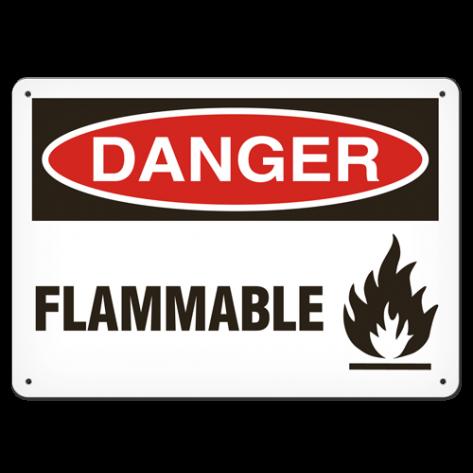 """DANGER Flammable (10""""x14"""") Rigid Plastic"""