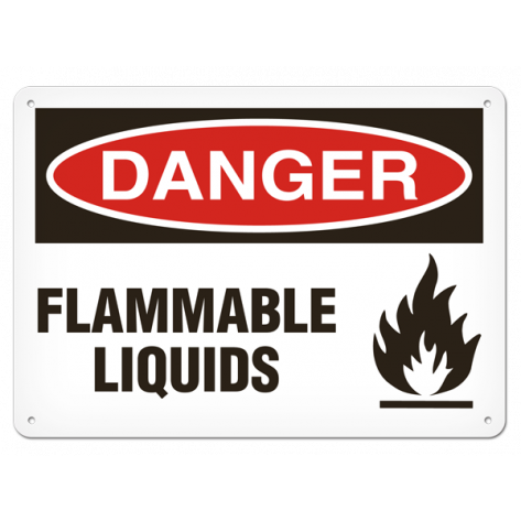 "DANGER Flammable Liquids (10""x14"") Rigid Plastic"
