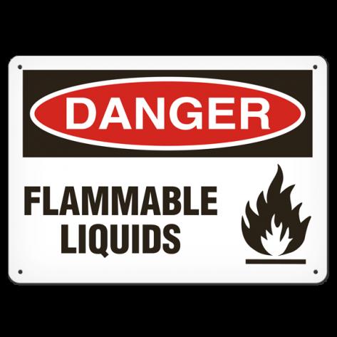 """DANGER Flammable Liquids (7""""x10"""") Rigid Plastic"""