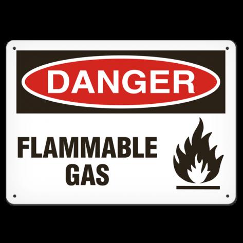 "DANGER Flammable Gas (10""x14"") Rigid Plastic"